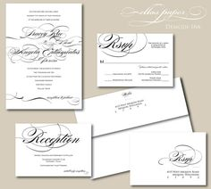 Black and White Wedding Invitation - Demode Ink #EasyPin