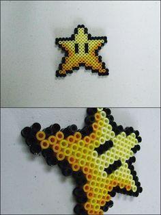 Super Mario 3 - Star - bead sprite magnet