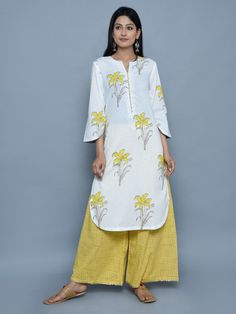 Yellow Cotton Floral Print Kurta