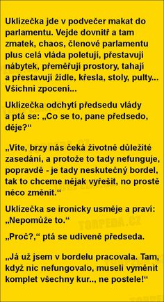Uklízečka jde v podvečer makat do parlamentu. Funny Texts, Funny Jokes, Jokes Quotes, Memes, Lol, Photos, Funny Textposts, Laughing So Hard, Husky Jokes
