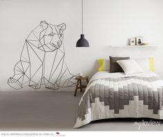 Geometryczna naklejka z niedźwiedziem