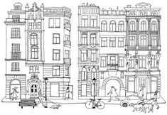 House Illustration, Illustrations, Colouring Pages, Coloring Books, Line Drawing, Painting & Drawing, House Doodle, Building Sketch, House Drawing