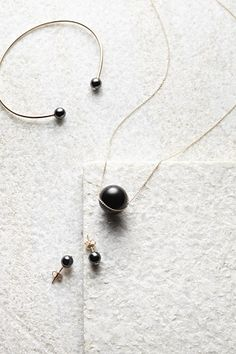 MINIMAL + CLASSIC: Ginette NY Ceramic Bubbles Small Bead Bangle, Black Moon Onyx Necklace, and Ceramic Bubbles Stud Earrings
