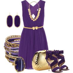 Gold & Purple, created by hope-houston on Polyvore