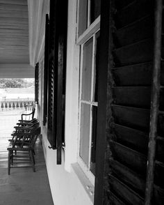 Photograph Black and White Front Porch Wood Window Shutters and Chairs in Cooperstown Upstate New York Rural Art Print Home Decor by HenaTayebPhotography