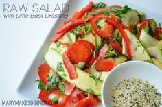 Raw Salad with Lime Basil Dressing: fresh from garden to table to tummy!