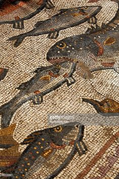Workers clean the dirt off an ancient Roman mosaic as it is revealed some 13 years after it was first discovered in the ruins of a 4th century AD building, on July 1, 2009 in Lod in central Israel. The beautiful 1,700 year old mosaic floor, which is regarded as one of the most magnificent and largest ever revealed in Israel, was first uncovered in 1996 during a project to upgrade the city's sewage system. The well-preserved mosaic covers an area of about 180 square meters and is composed of…
