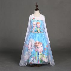 8.36$  Watch now - http://ali8yn.shopchina.info/go.php?t=32674978556 - Fashion Spring and Autaumn Anna Elsa dress Baby Girls Toddlers Princess Party Dress Up Costume pink and blue size100 to 140 8.36$ #aliexpressideas