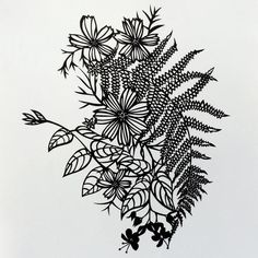 Original Cut Paper Artwork This original, cut paper artwork features an intricate, flowing design of cosmos, flowering vine and fern. The one of a kind design is hand-cut from a single piece of matte
