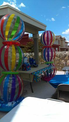 Beach Ball Birthday, Beach Ball Party, Ball Birthday Parties, Luau Party, 5th Birthday, Birthday Ideas, Ball Theme Party, Summer Party Themes, Hawaiian Party Decorations