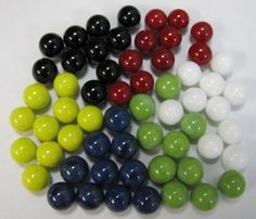 Marbles for Chinese Checkers, 60 pc. by Maple Landmark Woodcraft. $8.00. Lost your game marbles? This set of 60 marbles are enough to play a standard game of Chinese Checkers. Colors are yellow, red, green, white, black, and blue.