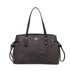 Coach Large Signature Print Drawstring Carryall Shoulder Bag Black Brown #Coach #ShoulderBag
