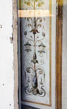 North side doors of Château de Bagatelle in the arrondissement of Paris. Cream base with blues & warm hues Arabesque, Stencils, Grisaille, Paris, Glass Etching, Panel Doors, Wood Paneling, Art Decor, Home Decor
