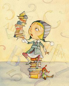 Many books to read! / Cuántos libros para leer! ;) -ilustración de Aileen Leijten-