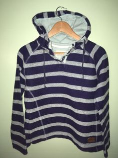 1c2e2e27aee7 Weird fish womens blue striped button neck hoodie hoody size 12