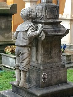 Brother mourning his little sister, monument, La Certosa cemetery Bologna. So sad.
