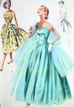 1950s Prom Dresses, Formal Dresses and Party Dresses. Long, floor length, 1950s ballgown  #1950sfashion #prom