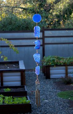 Blue Beach Glass Wind Chime with Brass Chimes Unique