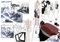 Fashion Sketchbook - research and fashion design development; geometric fashion & negative space // Ashley Victoria