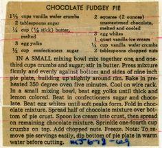 Old Recipes, Fudge Recipes, Cookbook Recipes, Vintage Recipes, Sweets Recipes, Chocolate Recipes, Cooking Recipes, Potluck Recipes, Yummy Recipes