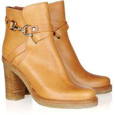 Mulberry Leather ankle boots ($395) ❤ liked on Polyvore featuring shoes, boots, ankle booties, ankle boots, light brown, high heel ankle boots, leather platform booties, short boots, pull on leather boots and leather platform boots
