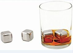 Rii Cubos enfriadores de acero inoxidable para el Whisky – Set de 4 piezas – Ideal para evitar que su bebida se diluya, manteniendo intacto y perfecto el sabor y a la temperatura correcta. Para Navidad, San Valentín, día del Padre, Bodas y cualquier otra celebración especial