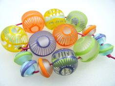 moogin bright summery round lampwork bead set 1819mm sra lampwork beads