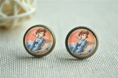 Nausicaä Earrings, Nausica Picture Stus, Anime Earrings, Anime Warriors of the Wind Picture Studs, Fox Stud Earrings, Anime Jewelry (EH166) by hmpisces on Etsy