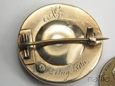 Backside: ANTIQUE 15K GOLD AGATE HAIR LOCKET MOURNING BROOCH c1806 'TO THE ONE I LOVE'   eBay, $265,50