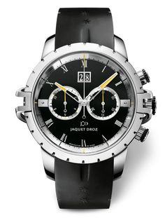 Jaquet Droz launches a new SW Chronograph, using their new more modern and sport watch design. Description from blog.breitlingsource.com. I searched for this on bing.com/images