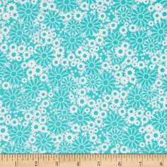 Daisies Turquoise/White from @fabricdotcom  From Choice Fabrics, this cotton print is perfect for quilting, crafts, and home decor accents. Colors include shades of teal.