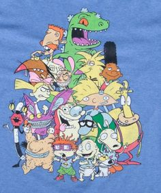 #Nickelodeon: Rugrats, Rocko's Modern Life, Hey Arnold!, Ren & Stimpy, Aaahh!! Real Monsters, Wild Thornberrys, and Angry Beavers t-shirt.