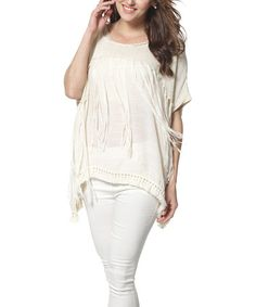 Look what I found on #zulily! Beige Fringe Crochet Tunic by Simply Couture #zulilyfinds