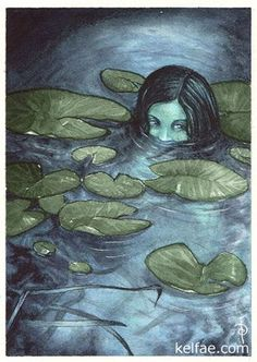Asrai- Scottish myth: water fairies that must always stay underwater. If it is captured or a single ray of sunlight touches it, it would melt into a pool of water. Their beauty is so great that if a man saw one, they would have a need to capture it. Mythological Creatures, Fantasy Creatures, Mythical Creatures, Water Fairy, Celtic Mythology, Merfolk, Mermaid Art, Gods And Goddesses, Illustrations