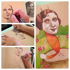 Trazos a cuadro manos. Uuna madre y su hija de cuatro años crean ilustraciones juntas.