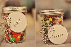 Personalised M's available in 14 colours to match your wedding day colours -package in your unique mason jars for the perfect wedding favour! http://www.mymms.co.uk/occasions/wedding.aspx  Image by @Heather Creswell Creswell Espana McGeehon www.espanaphotography.com