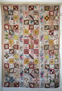 Antique Chintz Quilt TOP- early 1800's.  like a little fabric library.