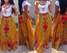 Dashiki / Skirt / African / Print / High / Waist / by Yexilove African Inspired Fashion, African Print Fashion, Africa Fashion, Fashion Prints, African Attire, African Wear, African Women, African Style, African Shop