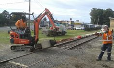 Awakeri Rail Adventures preparing to install signal posts at the main station in Whakatane New Zealand. Self Driving, Lawn Mower, New Zealand, Outdoor Power Equipment, Maine, Posts, Adventure, Lawn Edger, Messages