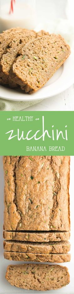 Healthy Zucchini Banana Bread -- an easy, no-mixer-required recipe! Only 106 calories!
