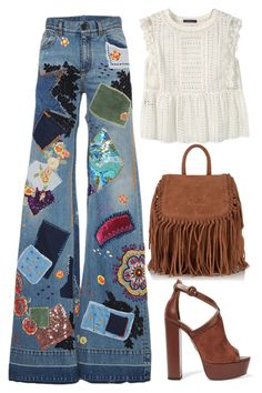"""boho"" by juliehalloran ❤ liked on Polyvore featuring Roberto Cavalli, Violeta by Mango, Superdry and Aquazzura"