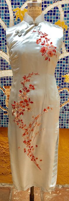 Vintage Silk Embroidered 50's Chinese Cherry Blossom