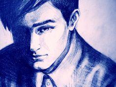 Bleistift - Portrait Mann, Bleistiftzeichnung, Digitaldruck - ein Designerstück von Ani-Koprivlenska-NETTLE bei DaWanda