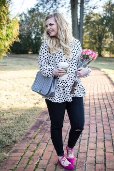 Budget Friendly Date Ideas and an outfit for inspiration. Pink Lace up flats, black denim, and dalmatian spot print top.