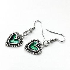 Silver and Green Heart Earrings by Loralyn Designs