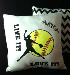 12 x 12 Personalized LIVE it  LOVE it Softball Pitcher Pillow by ThePillowshack, $12.99