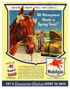 Original 1942 Print Ad Mobilgas Mobiloil Red Horse Wartime Car Service Pays Wide Selection; Advertising