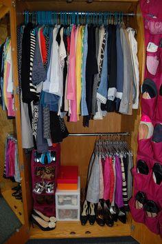 Organized dorm closet