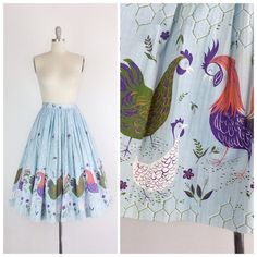 50s Rooster Border Print Skirt / 1950s Vintage Chanticlear Millworth Novelty Print Full Skirt / Medium / 28 inch waist