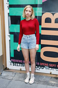 Tavi Gevinson Red t-shirt + high waist shorts + white converse 'This Is Our Youth' Cast Photo Call August 2014